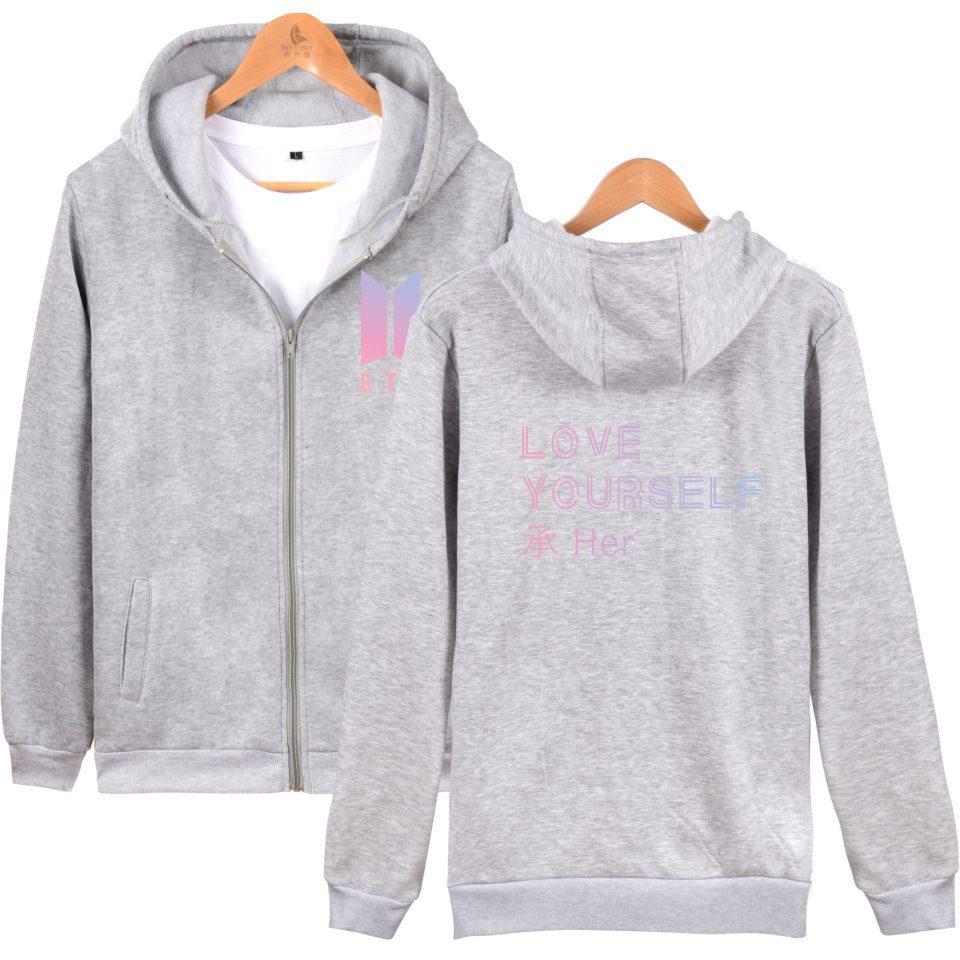 BTS Love Yourself New Album Zipper Harajuku Hoodies Women Winter Bangtan Kpop Sweatshirt Women Hoodies Zipper Cloth