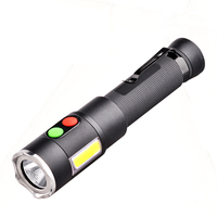 The Wolf Alarm Flashlight+3 dimmer CREE S3 Multi functional Hard light Flashlight magnetic COB check lamp working light 18650