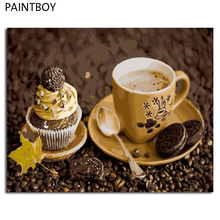 PAINTBOY Framed Pictures Painting By Numbers of Coffee Handwork Canvas Oil Painting Home Decor For Living Room GX4179