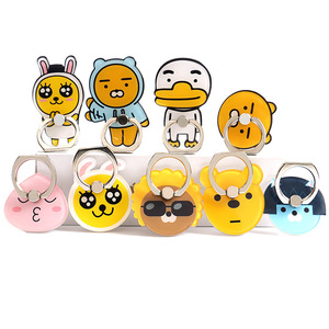 Image 1 - 1Pcs  Cartoon Cute Anti fall Metal Finger Ring Mobile Phone Support Korea kpop figure toy