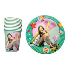 цена на 60pcs/lot Happy Baby Shower Girls Favors Decoration Soy Luna Theme Cups Plates Birthday Events Party 30 People Tableware Set