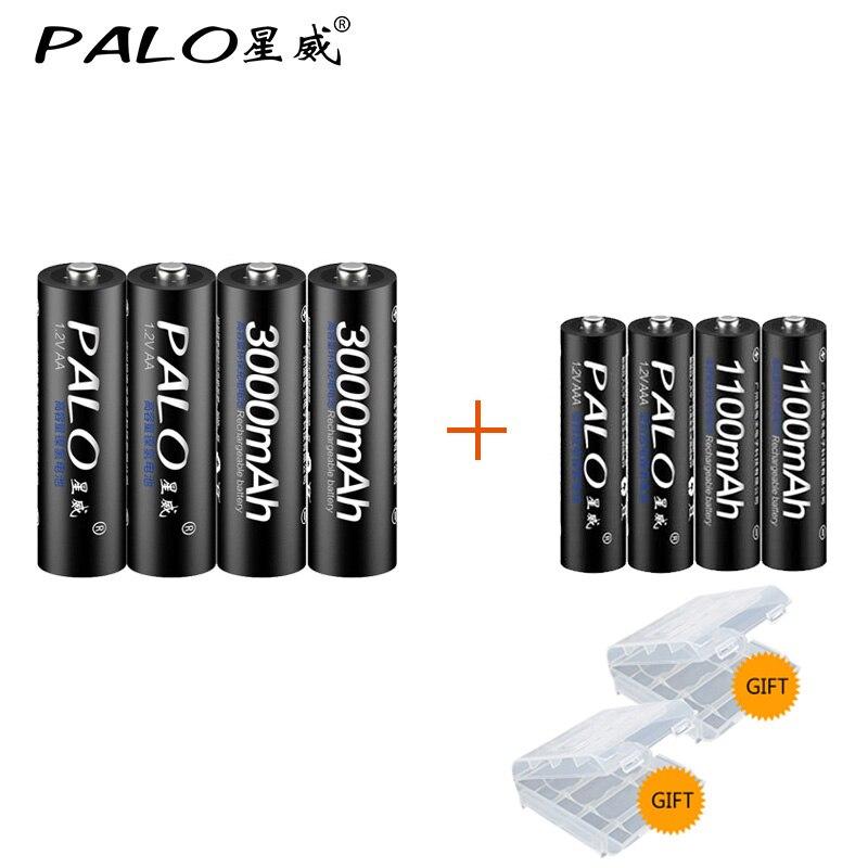 PALO 4 Stücke 1,2 V 3000 mAh AA Batterien + 4 Stücke 1100 mAh AAA Batterien NI-MH AA/AAA wiederaufladbare Batterie