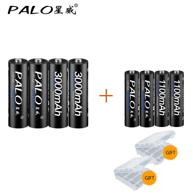 PALO 4Pcs 1.2V 3000mAh AA Batteries+4Pcs 1100mAh AAA Batteries NI-MH AA/AAA Rechargeable Battery fb fb 15 4 x aa aaa battery charger ni mh ni cd batteries white black