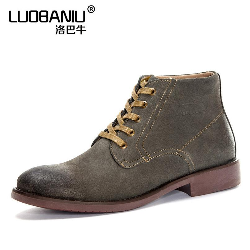 85a993921801 Classic retro large size Martin boots leather suede British men s casual  high-rise shoes wear soft rubber soles men s shoes