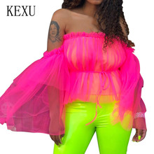 KEXU Beauty Women's Sexy Romantic Double Layer Mesh Tube Top T-Shirt Summer Elegant Off Shoulder See Through Pleated T-Shirt off shoulder pleated flowy top