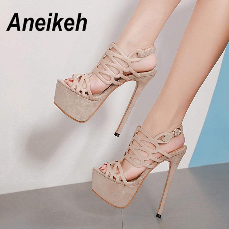 Aneikeh 2019 Summer Platform Sandals Sexy 16cm Women Sandals High Heels Open Toe Gladiator Nightclub Flock Shoes Big Size 34-40