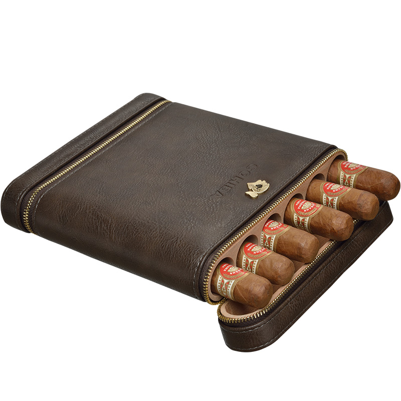COHIBA High-end Gadget Excellent Leather Solid Wood Portable Cigar Case Holder Travel 6 Lined Cedar Wood Tube W/ Gift Box gadget