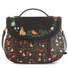 Hot Fashion Vintage Sale Saddle Floral Cover Bags Leather PU Embroidery Women's Handbags Messenger Bags Totes Bolsa Feminina