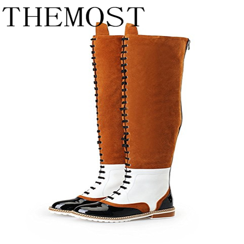 THEMOST European and American new knee boots wear the black + white + brown chain anti-slide boots lady's boots the ivory white european super suction wall mounted gate unique smoke door