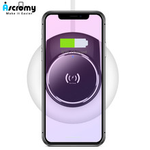 Ascromy 2 In 1 Mini Night Light Lamp Fast Wireless Charger Pad For iPhone Xs max xr 8 Samsung Note 9 S9 Qi Charging Accessories(China)