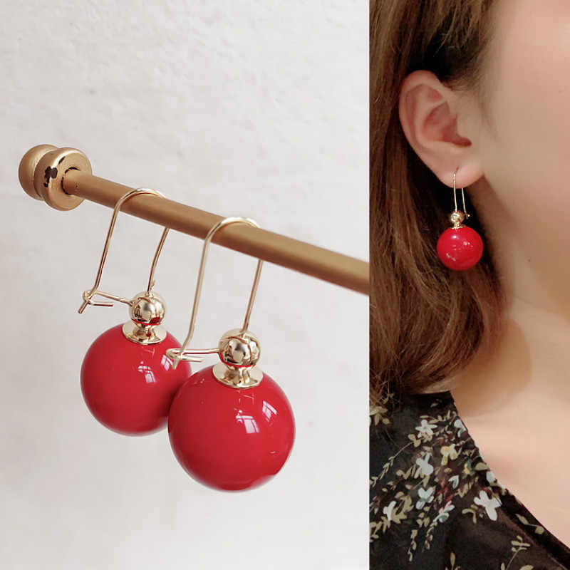 Classic Simulated-pearl Round Women Dangle Earrings Simple New Red Ball Earrings For Women Drops Earrings Bohemian Earrings