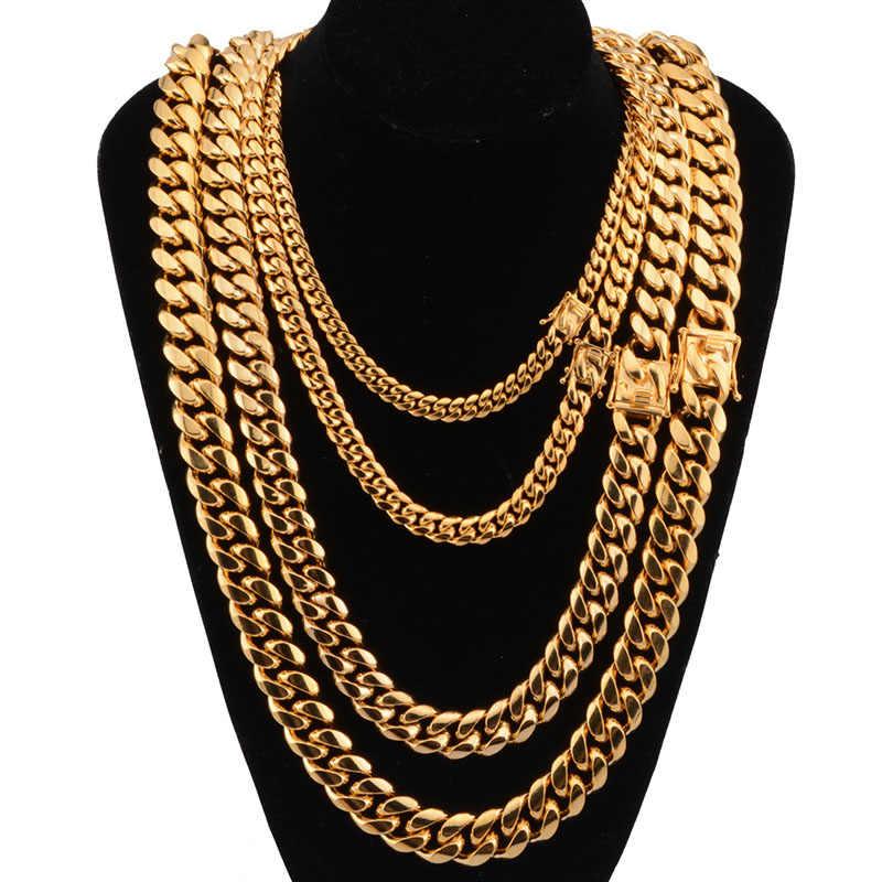 8/10/12/14/16mm ze stali nierdzewnej o szerokości kubański Miami łańcuchy naszyjniki duży ciężki złoty okrągły Link łańcuch dla mężczyzn Hip Hop Rock biżuteria