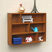Retro Solid Wooden Shelf Wall Wood Hanging Storage Rack Sundry Goods/ Toys Wooden Box Sorting Racks Storage Organizer Home Decor(China)