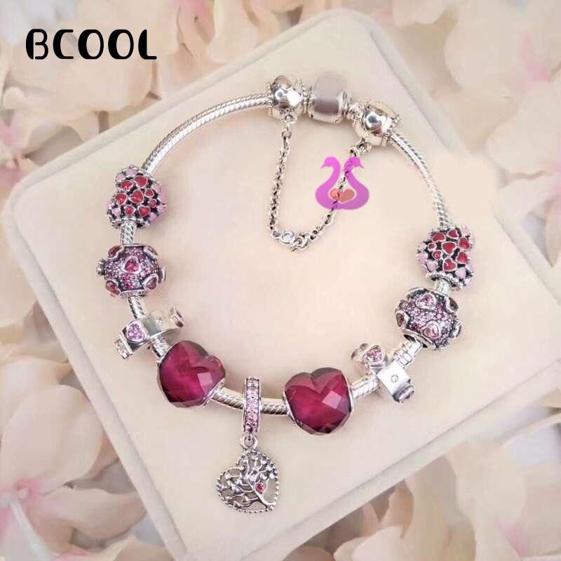 100% 925 argent Sterling Reproduction originale 1:1 Bracelet à breloques rétro couleur argent Bracelet à cœur fin bijoux pour femmes