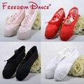 Mulheres adultas adolescentes lona sapatilhas de balé balé suave sapatos de dança sapato de couro solas rachadas gym yoga exercício ballet plana sapato