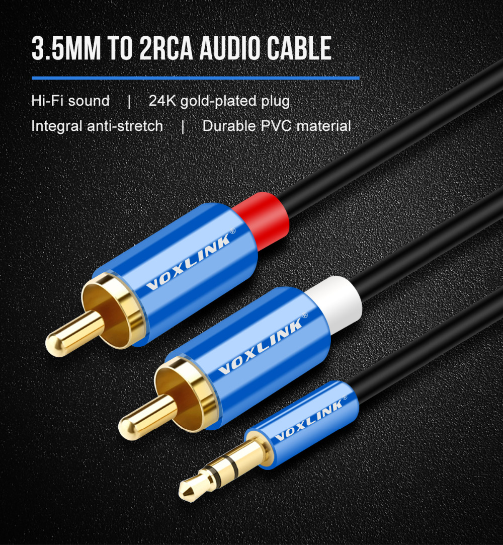 VOXLINK 3.5mm Jack to 2 RCA Audio Cable Male To Male RCA Aux Cable ...