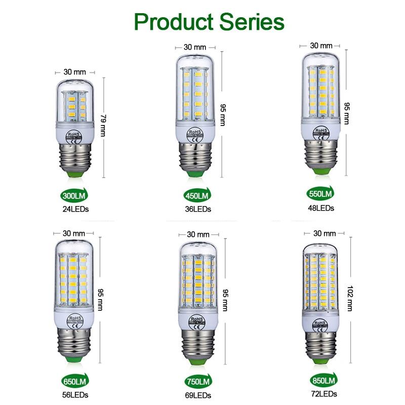 Goodland E27 LED Lamp 220V LED Bulb SMD 5730 E14 LED Light 24 36 48 56 69 72 LEDs Corn Bulbs Chandelier For Home Lighting 3