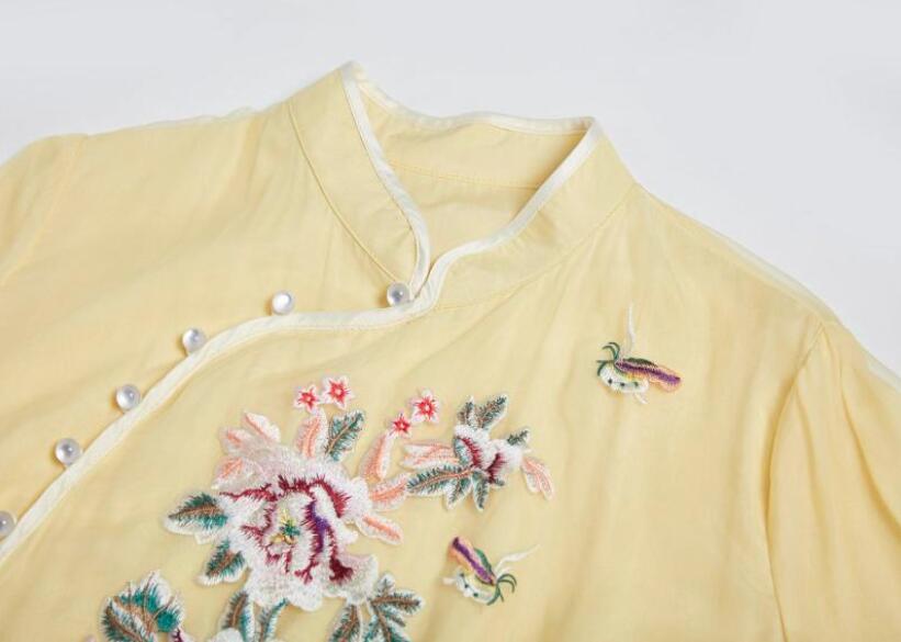 Zomer De Nieuwe Chinese Ruyi garen borduurwerk cheongsam jurk geel Zeven kwart mouw elegante mode Losse jurk S 2XL - 4