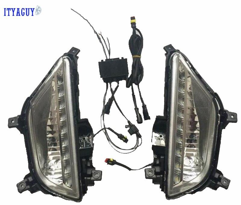 High Quality led light daytime running light For Hyundai Elite I20 2015 with fog lamp cover drl 12V car styling