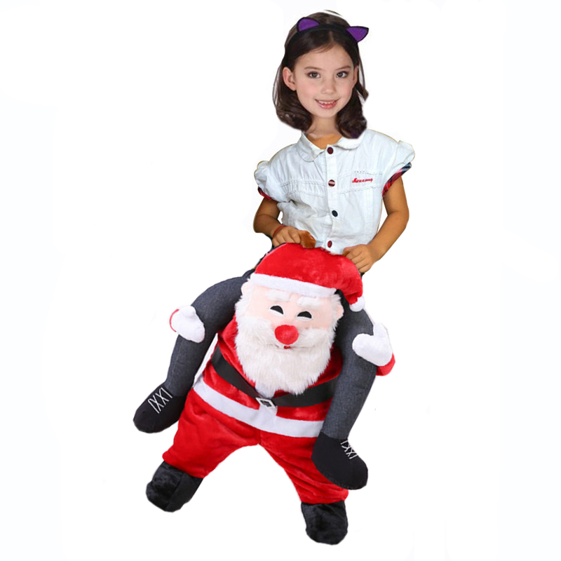 Adult-Kids-Novelty-Santa-Claus-Ride-on-Costume-Christmas-Riding-Shoulder-Funny-Suit-Santa-Mascot-Costume