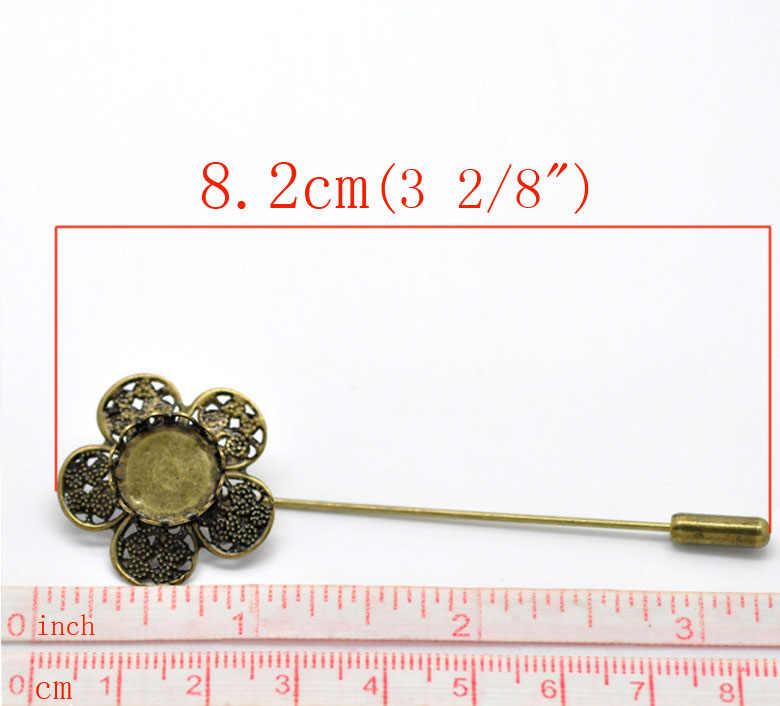 """DoreenBeads Броши из медного сплава фурнитура цветок из античной бронзы, с кабошоном настройки (подходит 12 мм) 8,2 см (3 2/8 """") x 26 мм (1""""), 1 шт."""