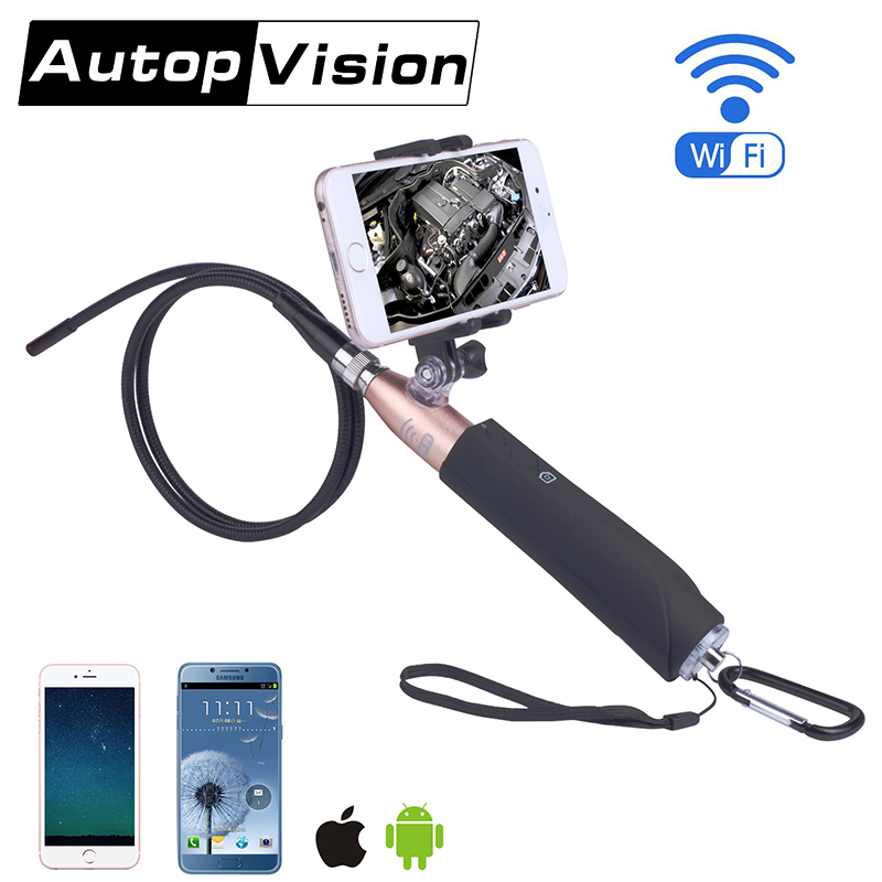 ZCF110 6LED 8mm camera Wifi Endoscope Wireless Borescope Tube Snake Inspection Camera 720P 2.0MP Handheld For IOS Android
