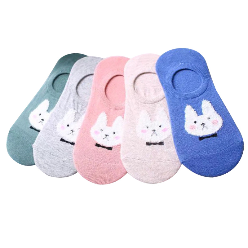 5 Pairs Ear Rabbit Invisible Short Women's Socks Sweat Comfort Cotton Girl Boat Socks Ankle Silicon Gel Low Female Hosiery Meias
