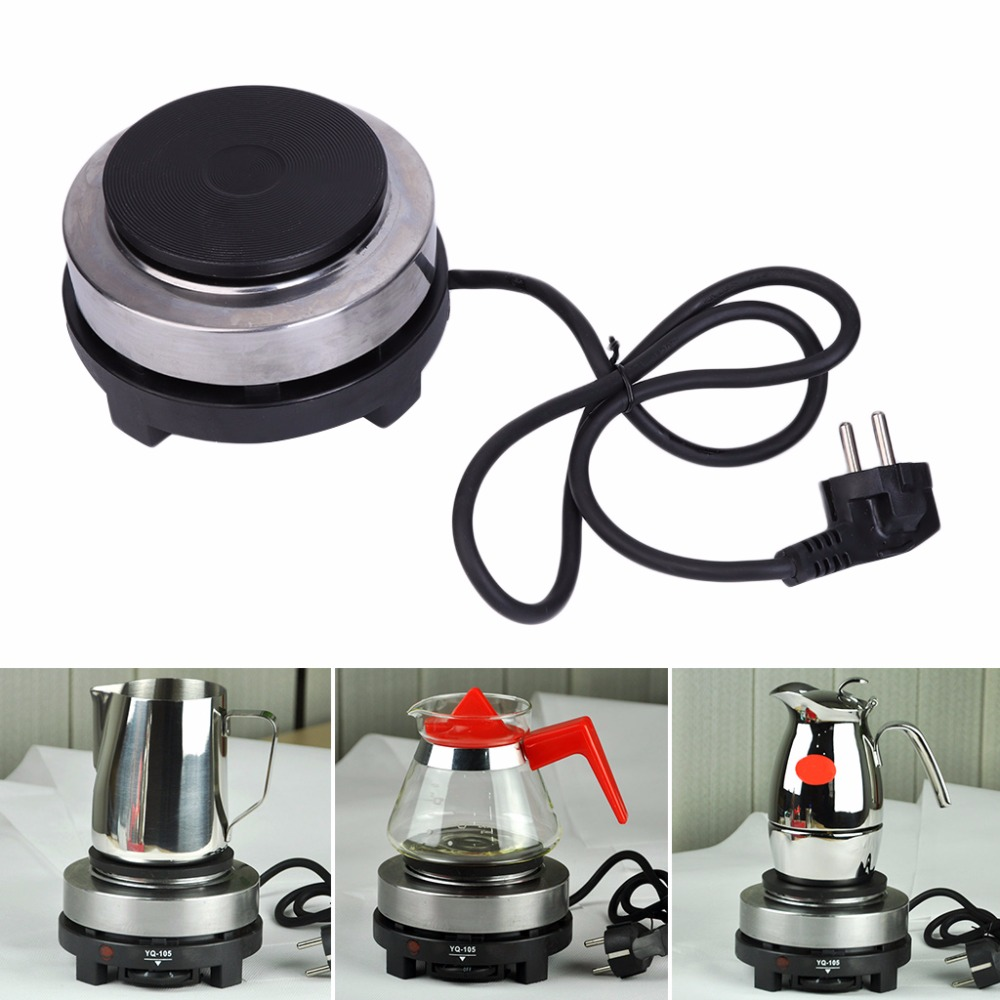 1PC EU Plug 220V 500W Electric Mini Stove Hot Plate Multifunction Cooking Coffee Heater New stainless steel electric double ceramic stove hot plate heater multi cooking cooker appliances for kitchen 220 240v vde plug