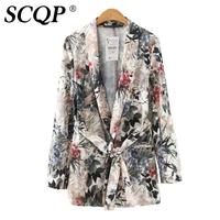Elegant Fashion Floral Printed Womens Blazers Spring Autumn Thin Long Sleeve Jacket Suit Women Slim Sashes