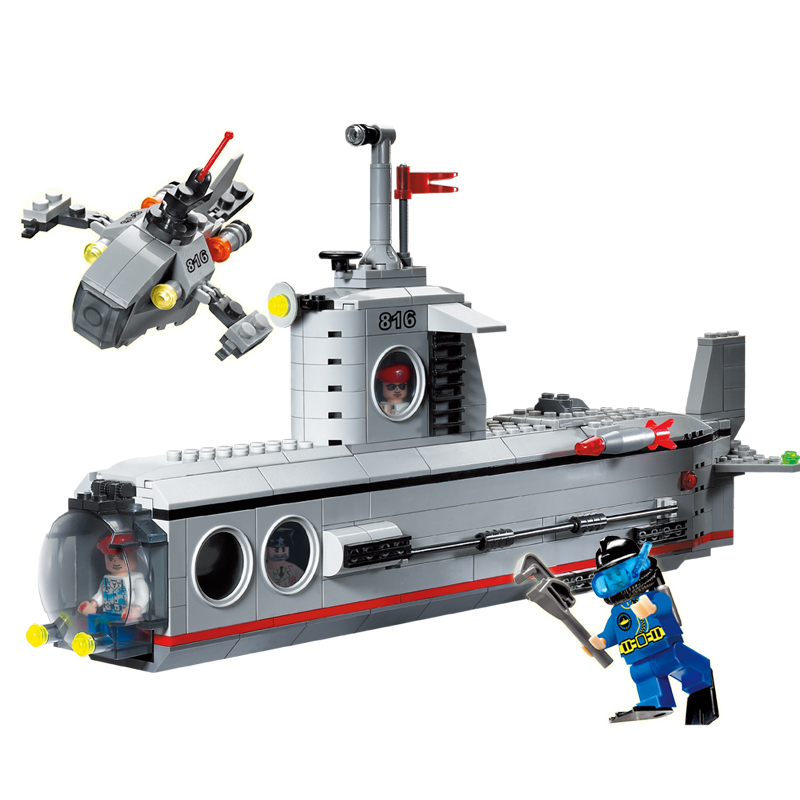 Building Blocks Military Submarine DIY Assembling Toys for Children Birthday Gift 382pcs 816 enlighten building blocks navy frigate ship assembling building blocks military series blocks girls