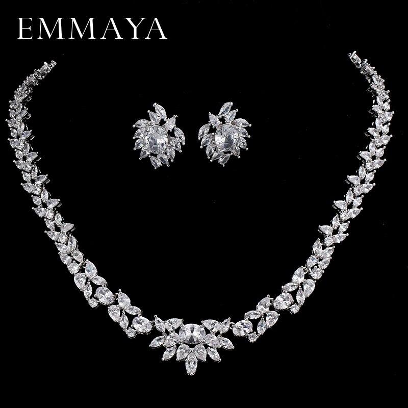купить EMMAYA CZ Stones White CZ Silver Color Jewelry Sets For Women Earrings Necklace Pendant with Free Jewelry Box недорого