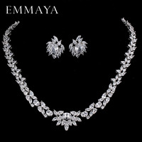 EMMAYA CZ Stones White CZ Silver Color Jewelry Sets For Women Earrings Necklace Pendant with Free Jewelry Box