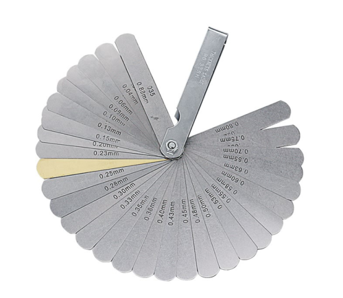 32 Pieces Blade Feeler Gauge Set Stainless Steel Foldable Feeler Gauges Metric Imperial Measure Includes Brass Blade Tool