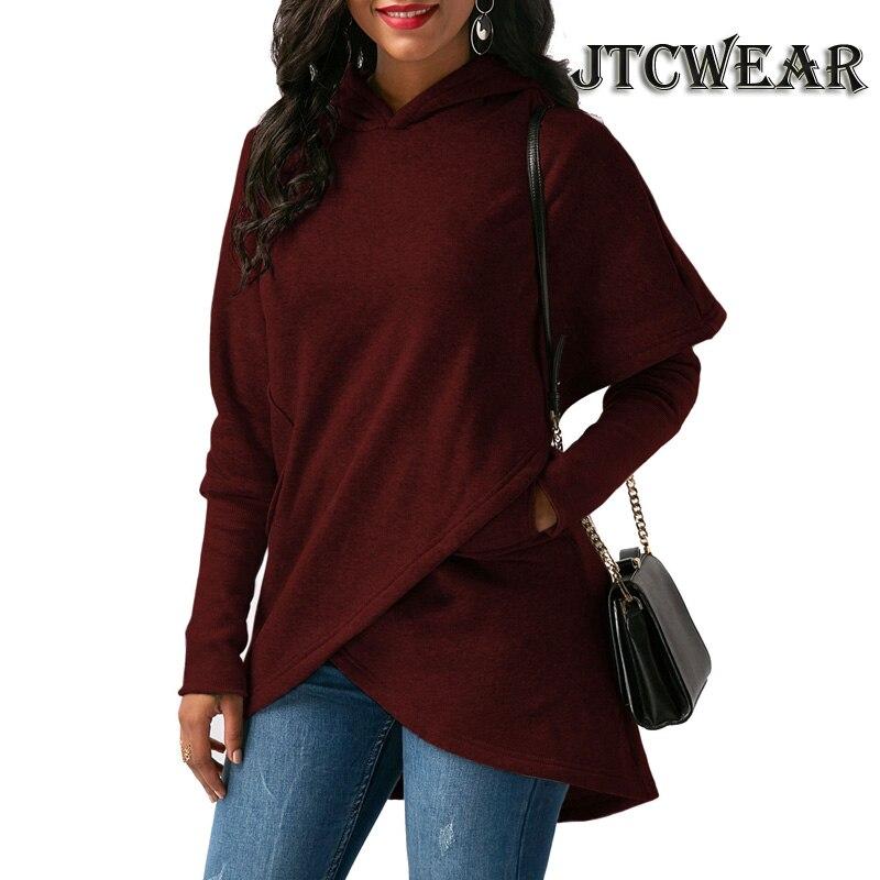 JTCWEAR 2018 Autumn Woman Hoodie Turn Down Neck Bat Wing Long Sleeve Cross High Low Irregular Fashion Design Sweatshirts 782