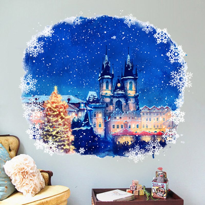 55cmx60cm High quality PVC Cute Christmas Cartoon Castle ...