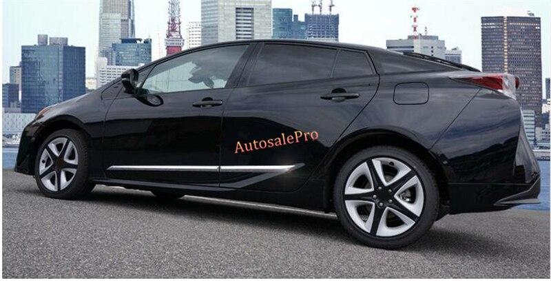 ФОТО ABS Chrome Side Door Body Molding strip Cover trim 4pcs For Toyota Prius 2016