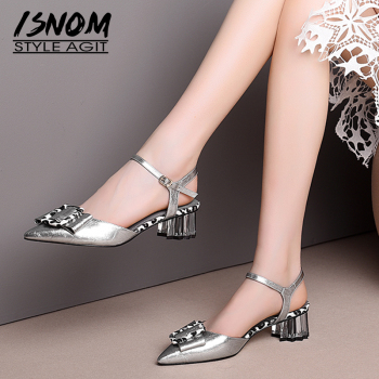 ISNOM Crystal Heels Sandals Women Leopard Summer Sandals Genuine Leather Shoes Female Strange Style Pointed Toe Wedding Shoes