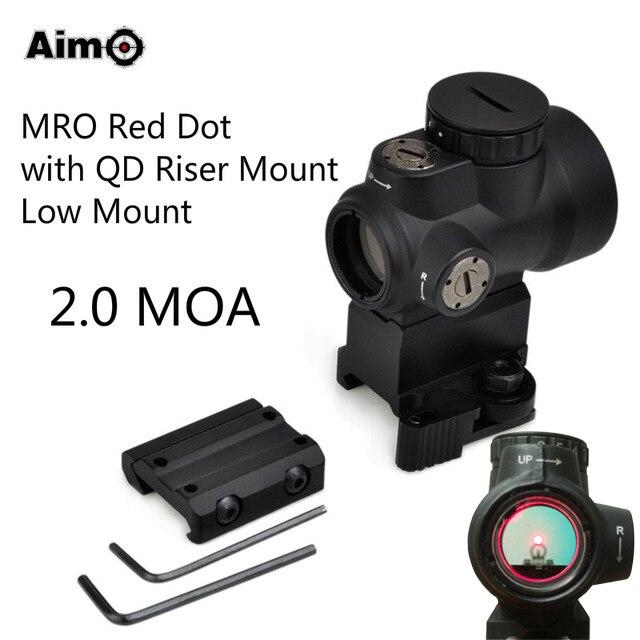 Aim-O MRO רובה היקף כלי נשק אופטי נקודה אדומה עם QD Riser / הר נמוך 2.0 MOA AO5087