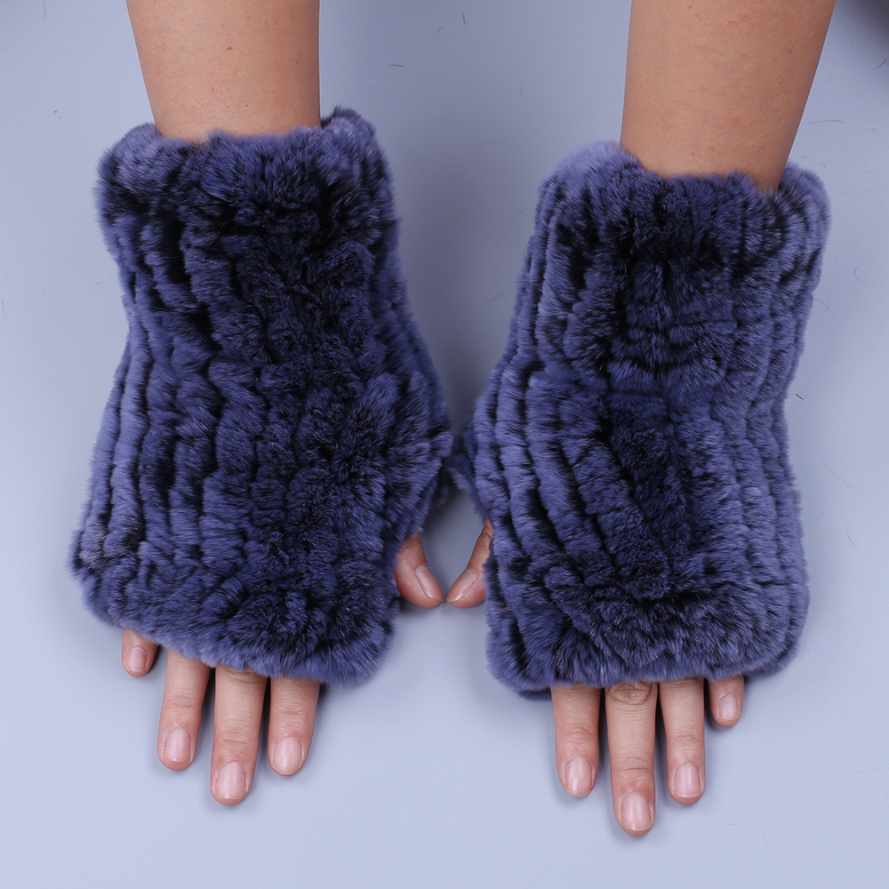 2019 Fashion Real Rex Rabbit Fur Women's Winter Gloves Genuine Fur Mittens Girl Fingerless Gloves Wrist Warmer Elastic Fluffy