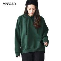 New Autumn Winter Warm Fleece Women Hoodies Plus Size Long Sleeve Plain Green Hip Hop Oversize