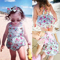 2016 Novo Estilo Floral Rompers Bandage Lace Borboleta Macacão Sem Encosto Casual Little Lady Summer Beach Sunsuit