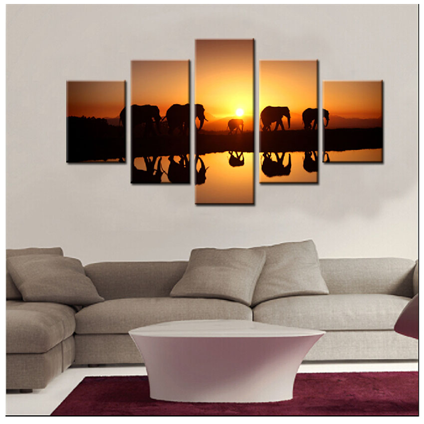 Wall Pictures For Living Room Elephant Migration Paintings ...