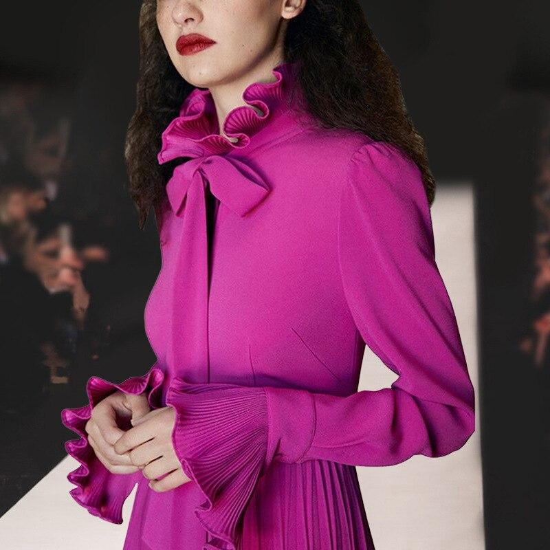 Solide vente Purple Piste Bonne Tiding Arrondi Mousseline Pourpre Col Moyen Robe noeud Plissée Mode En Long Arc Femmes Manches Soie De 1wqwBEA