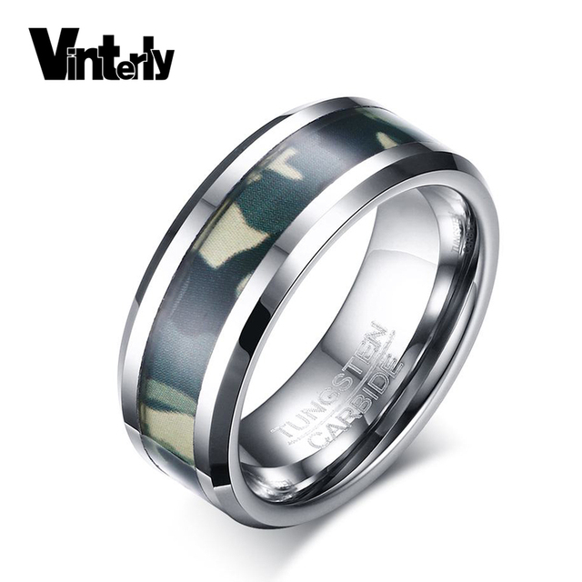 Vinterly Men S 8mm Anel Masculino Punk Camo Camouflage Tungsten Wedding Bands Ring For Jewelry