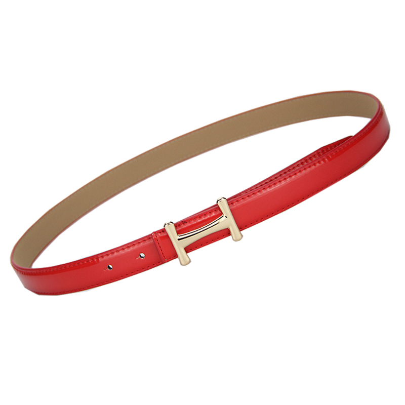 FEECOLOR Women Waist Belt Slender Pants Dress Waistbands With Letter H Style Metal Buckles PU Leather Thin Belts Solid Color