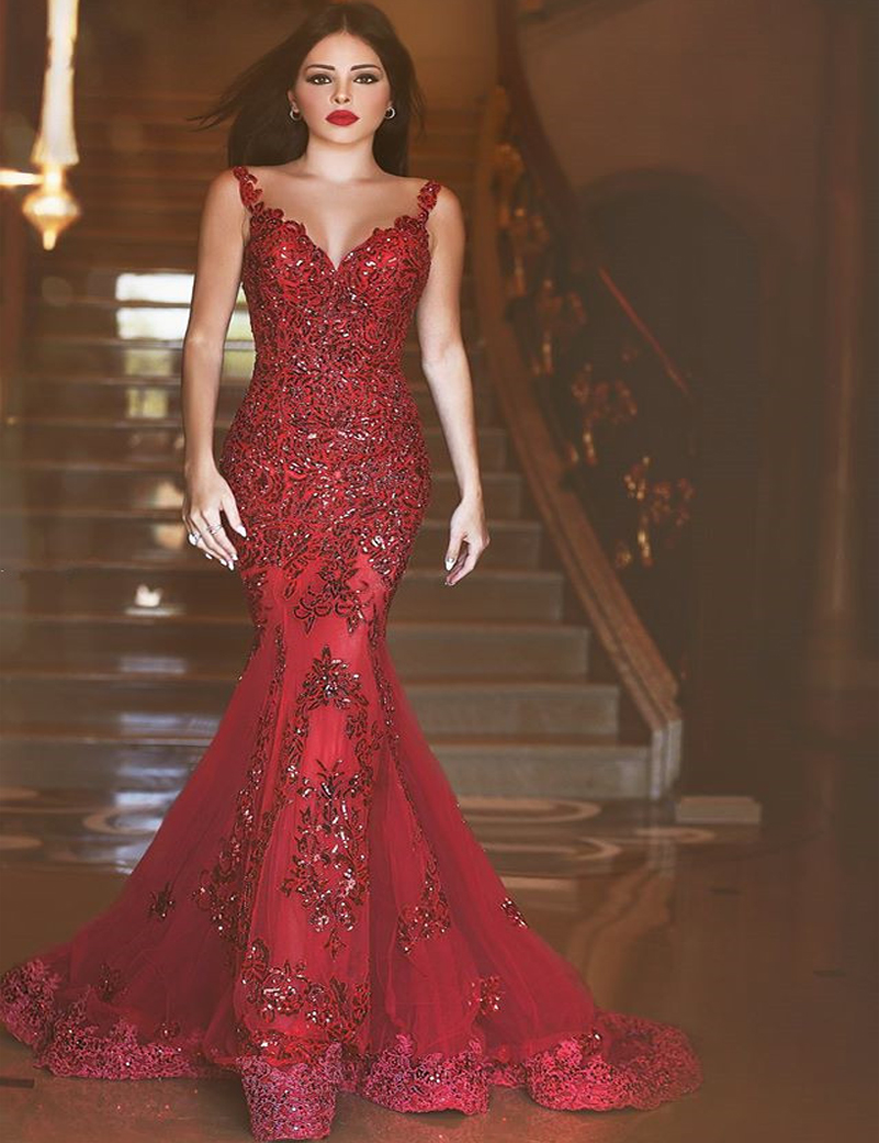 Sexy Sheer Neck Long Mermaid Red Evening Dress With Appliques Robe de Soiree Illusion Back Backless Beaded Prom Gowns(China (Mainland))