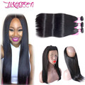 360 360Lace Frontal Closure With Bundles Indian Virgin Hair 7a Straight Rosa Hair Products With Closure 3 Pcs Lace Frontal Weave