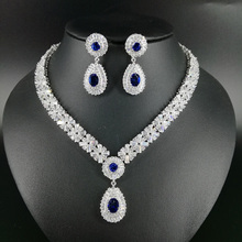 NEW FASHION Retro palace water drop blue zircon necklace earring wedding bride banquet dress formal jewelry set free shipping