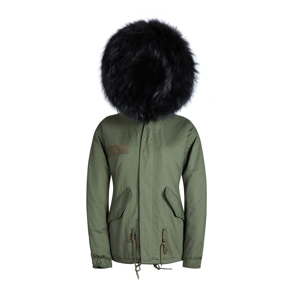 Для мужчин s меховые парки в Для мужчин парка Новое поступление Army green парки Черный меха с куртка с капюшоном - Цвет: Армейский зеленый