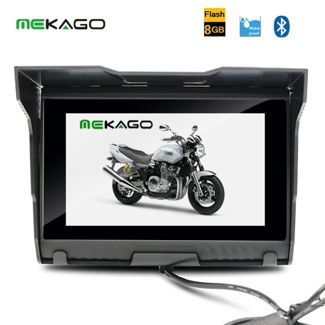 Бесплатная доставка 5 Дюймов 8 ГБ Водонепроницаемые HD 800x480 Мотоцикл GPS, Bluetooth + FM + Бесплатные Последние Карты